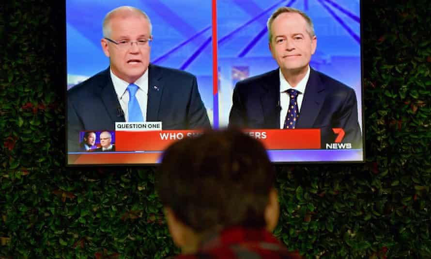 A viewer watching Scott Morrison and Bill Shorten's first leaders' debate in Perth.