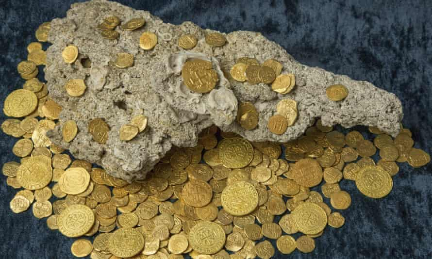 Over 350 gold coins recovered from Spanish shipwreck near Florida. Treasure hunters found the trove of $4.5 million worth of Spanish gold coins 300 years to the day after a fleet of ships sunk in a hurricane while en route from Havana to Spain