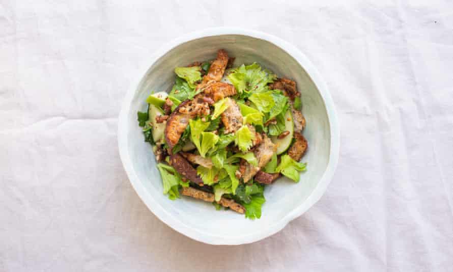 Tom Hunt's celery leaf salad with walnut dressing.