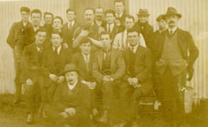 A group of internees at Ballykinler camp, 1921-22. Michael J Sheridan is wearing a hat and is seated at the front