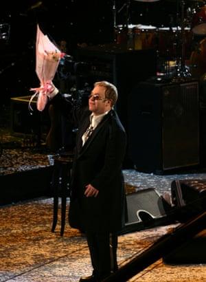Elton John at his 60th birthday concert in New York, 2007