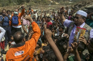 Recipients chant 'Allahu Akbar' ('God is great') as the Nautical Aliya crew distribute relief supplies at Balu Khali