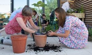 Duchess of Cambridge with pot plants