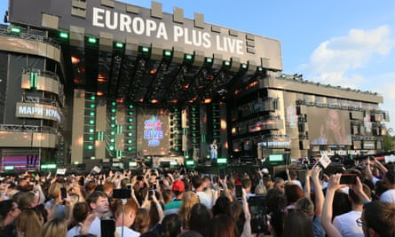 stage at the Europa Plus music festival in Moscow on 27 July