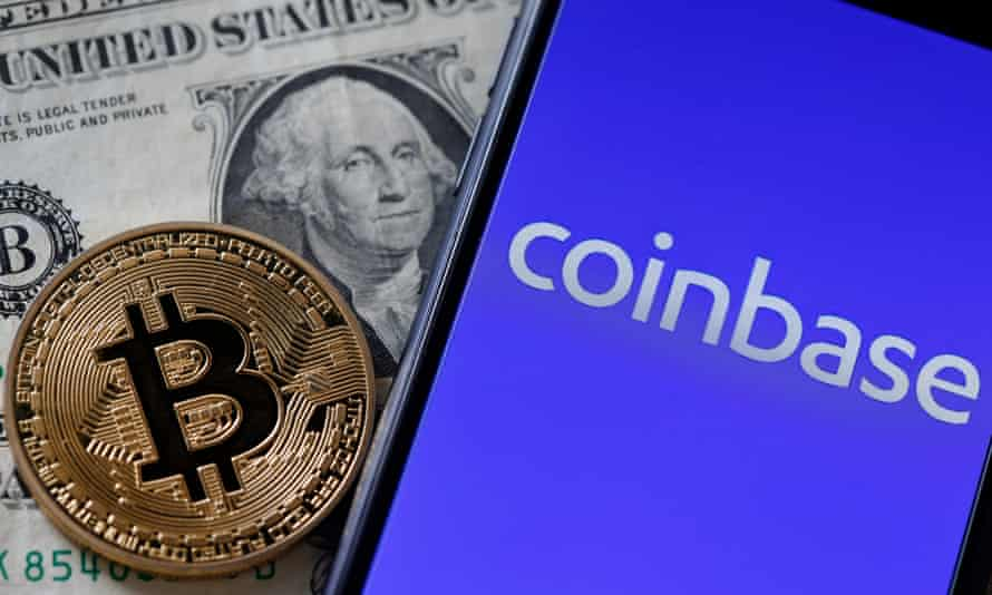 Bitcoin, US dollar and Coinbase on mobile phone screen