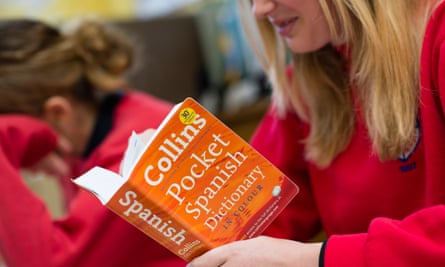 A school student using a Spanish dictionary
