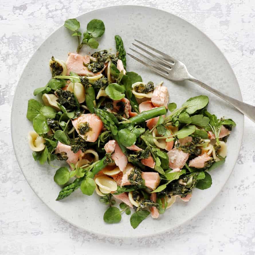 Rose Birkett's salmon, pasta and spring veg salad.
