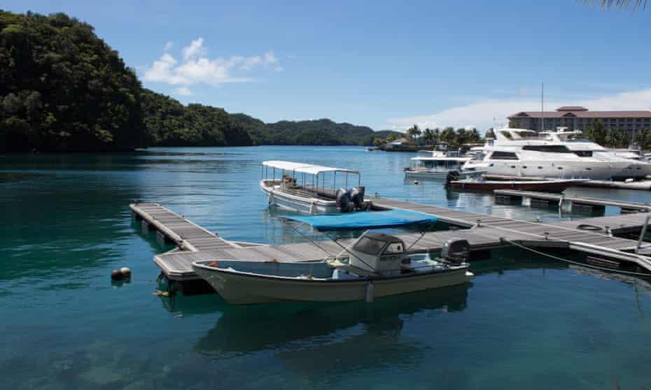 Boats sitting idle at Malakal Island, Palau