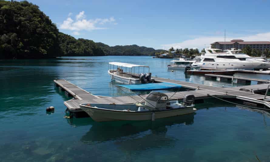 Boats in port on the island of Palau, where tourism made up almost 50% of the economy before the Covid-19 pandemic