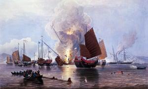 British ships destroying an enemy fleet in Canton, 1841.