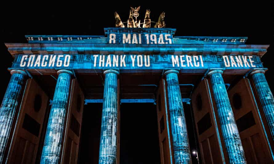 Illuminations on Berlin's Brandenburg Gate on VE Day, 8 May