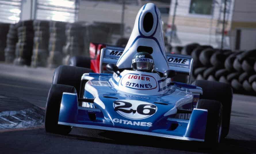 Jacques Laffite in his Smurfmobile at the United States Grand Prix, Long Beach 1976