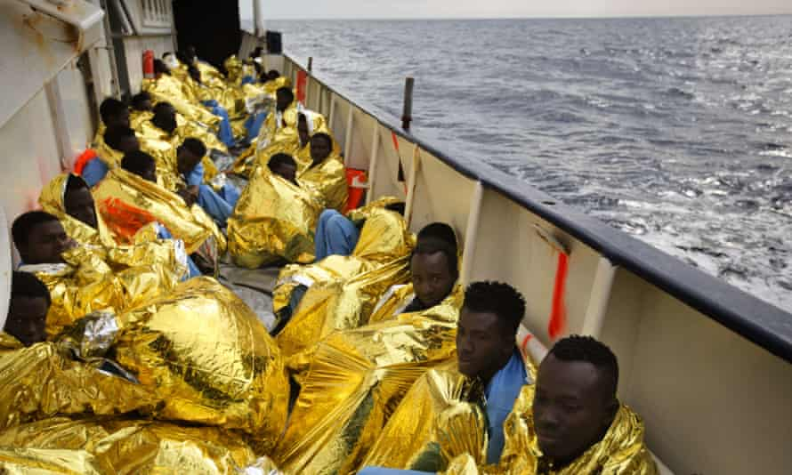 A group of migrants