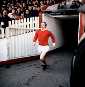Stiles runs out at Old Trafford for a Division One match against Manchester City on 8 March 1969
