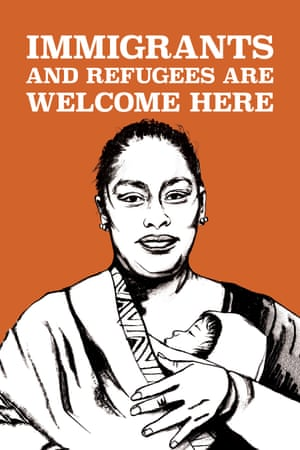 Immigrants Are Welcome Here by Micah Bazant, from the book Posters for Change