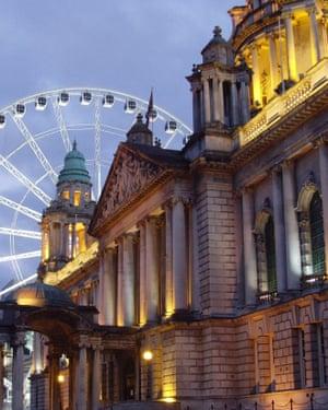 Belfast city hall and Big Wheel.