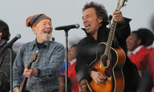 Seeger and Bruce Springsteen performing in Washington DC in 2009.