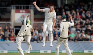 Josh Hazlewood leaps in celebration after dismissing Jos Buttler