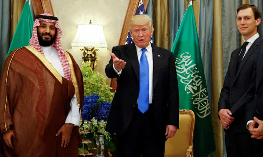 Mohammed bin Salman, Donald Trump and Jared Kushner in Riyadh, Saudi Arabia on 20 May 2017. The report also cites the role of Kushner.