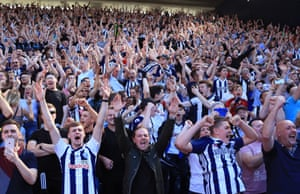West Brom fans celebrate Livermore's goal.