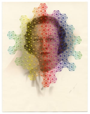 Gamut, hand embroidery on found photograph