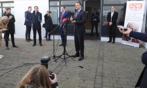 Journalists observe physical distancing at a briefing by the Irish prime minister, Leo Varadkar, in Dublin on 23 March.