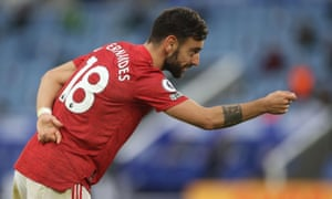 Manchester United's Bruno Fernandes celebrates scoring their second goal.