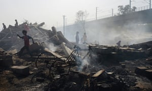 Mansarovar Park, New Delhi, during the massive fire that broke out earlier this year.