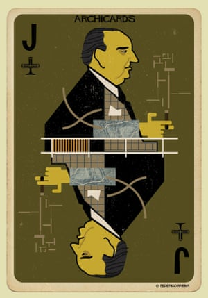 Ludwig Mies van der Rohe portrayed in one of Federico Babina's Archicards