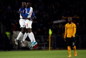 Porto striker Vincent Aboubakar embraces his teammate Moussa Marega after scoring during their Europa League game against Young Boys in Bern