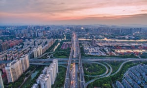 An elevated highway and endless apartment blocks in Hangzhou, the capital of Zhejiang province.