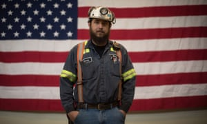 Coal miner Donnie Claycomb, 27, photographed prior to an event with EPA administrator Scott Pruitt at the Harvey mine in Sycamore, Pennsylvania.