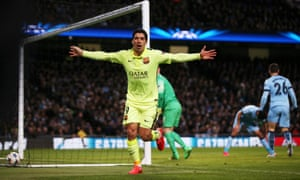 Luis Suárez celebrates after scoring his second goal for Barcelona against Manchester city in their Champions League match.