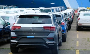 VW cars lined up for export at Bremerhaven