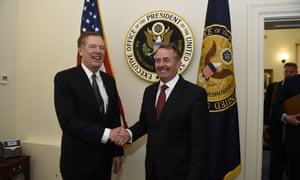Liam Fox (right) in Washington on Monday with the US trade representative ambassador, Robert Lighthizer.