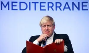 Boris Johnson at the Rome Mediterranean Dialogues forum in Rome.