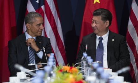 Done deal! US President Barack Obama with President Xi Jinping of China at the Paris climate conference in Le Bourget, France. The two leaders will soon meet in Washington DC.