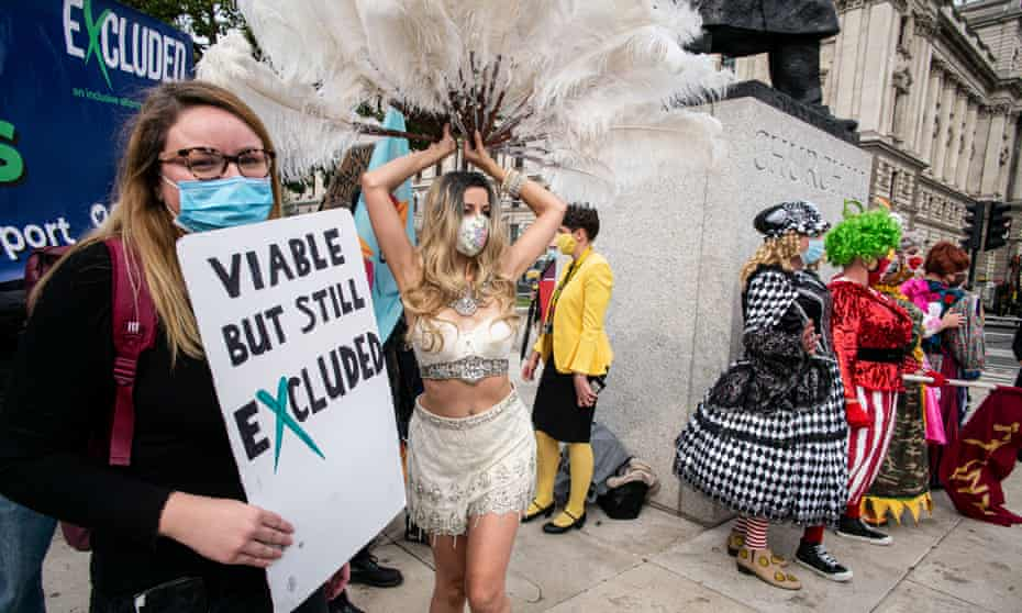 Pantomine Dames protest in London. In the arts, entertainment and recreation industries, hard-hit by Covid measures, the top percentiles earn vastly more than the bottom 95%.