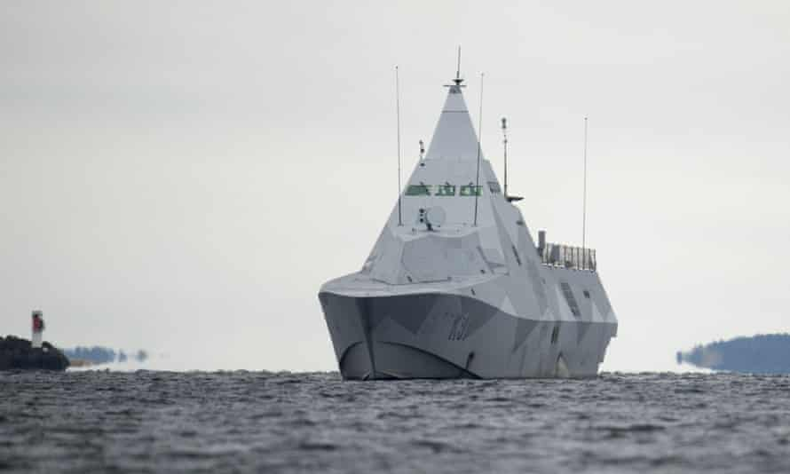 A Swedish ship patrols the Stockholm archipelago