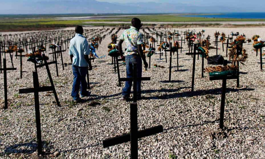 Graves in the aftermath of Haiti earthquake.
