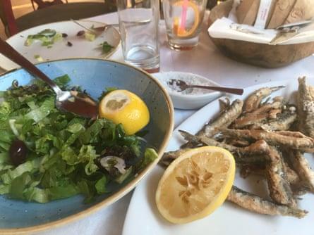 Fresh fish and a simple saladat Hotanineas taverna.