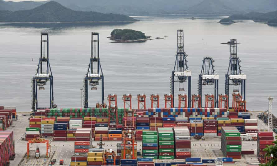Cargo containers and cranes at Yantian port, Shenzhen