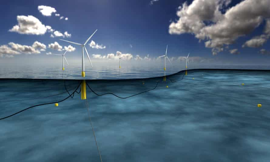 An artist's impression of the world's largest floating windfarm planned off the coast of Scotland.