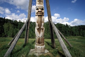 Totem at Kitwanga. Oldest totems in the world. British Columbia. Canada.