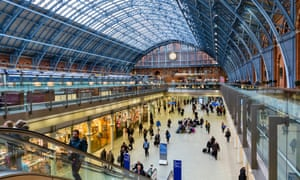The interior of London St Pancras, the terminus for HS1.