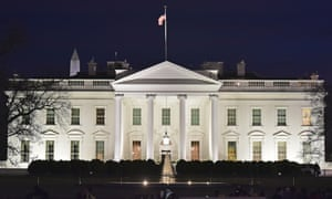 The White House after sunset