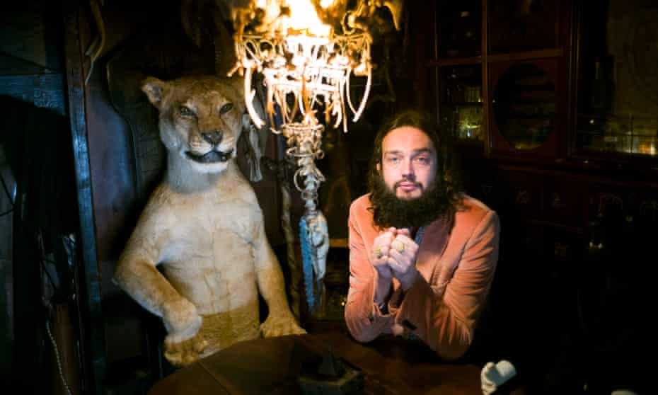 Beastly … Viktor Wynd, right, in his Museum of Curiosities, Fine Arts and UnNatural History, in Hackney.