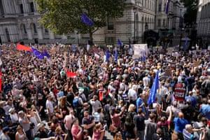 Demonstrators assemble in Whitehall