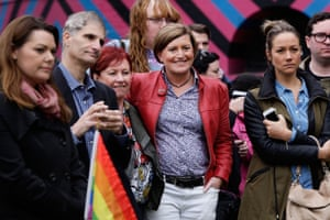 A rally for marriage equality in May, attended by Christine Forster, the sister of Tony Abbott, and her partner Virginia Edwards.