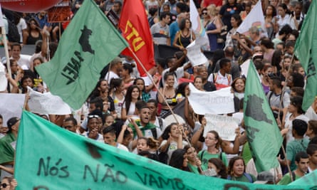 Public servants and students in Rio de Janeiro protest against budget cuts.